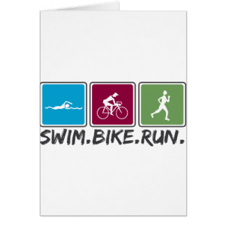 swim bike run (triathlon) greeting card