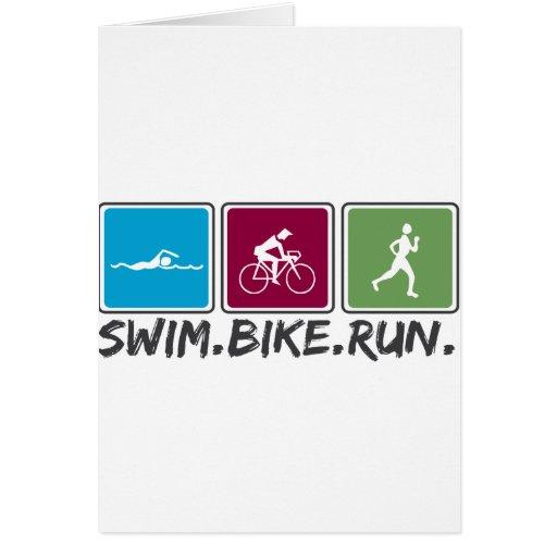 swim bike run (triathlon) cards