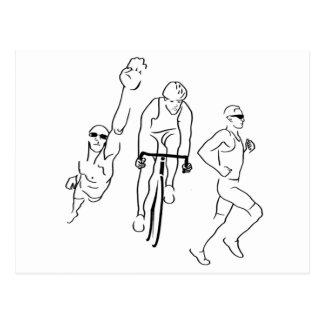 Swim Bike Run Triathlon Postcards