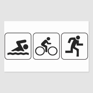 Swim, Bike, Run - Triathlon Rectangular Sticker