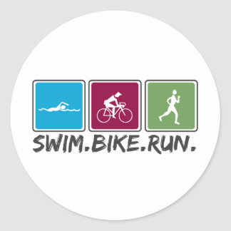 swim bike run (triathlon) round sticker