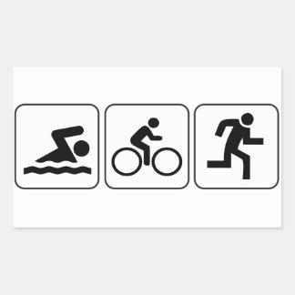 Swim, Bike, Run - Triathlon Rectangular Sticker