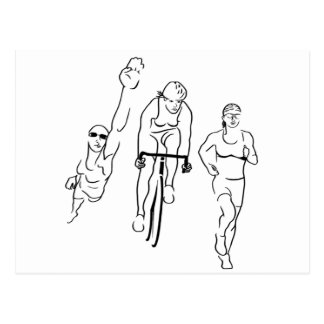 Swim Bike Run Triathlon Woman Postcard
