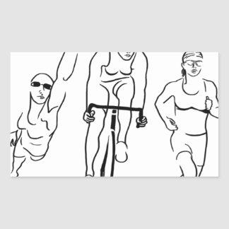 Swim Bike Run Triathlon Woman Rectangle Stickers