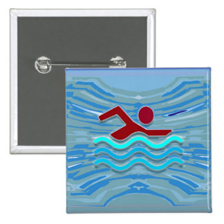 Swim Club Swimmer Exercise Fitness NVN254 Swimming 15 Cm Square Badge