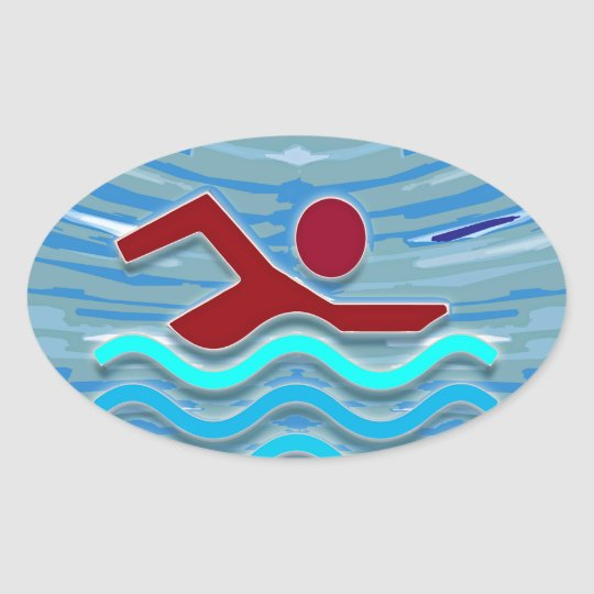 Swim Club Swimmer Exercise Fitness NVN254 Swimming Oval Sticker