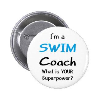 Swim coach 6 cm round badge