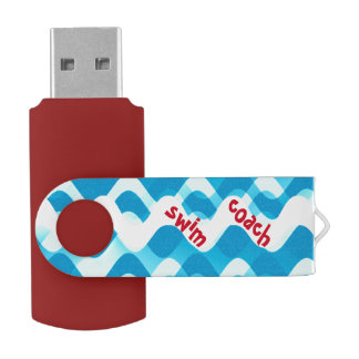 Swim Coach Custom USB Swivel Flash Drive Sports Swivel USB 2.0 Flash Drive