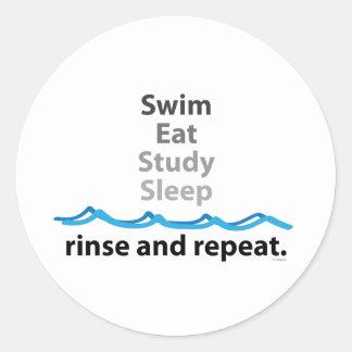 Swim, eat, study, sleep ... rinse and repeat round sticker