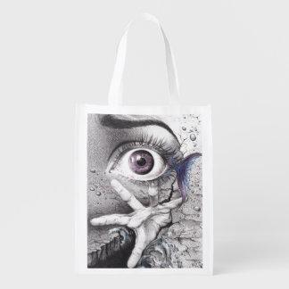 """""""Swim"""" eye surreal drawing Reusable grocery bag"""