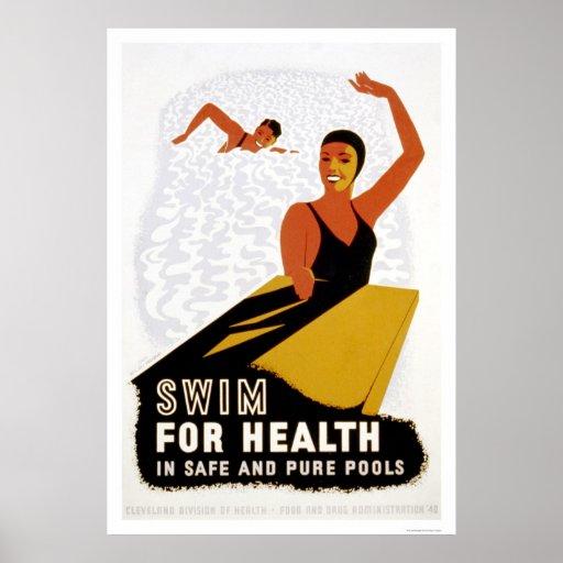 Swim For Health 1940 WPA Posters