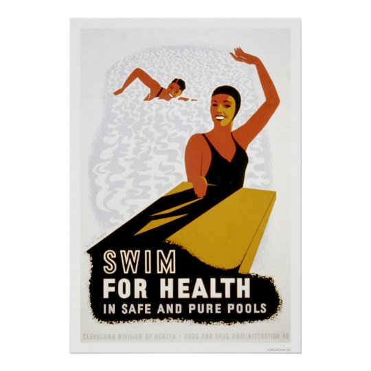 Swim For Health 1940 WPA Poster