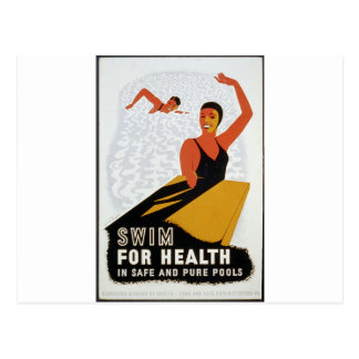 Swim for health in safe and pure pools postcard