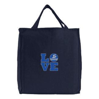 Swim LOVE Embroidered Tote for Swimmer/Coach/Fan
