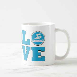 Swim Love For Competitive Swimmers or Coaches Basic White Mug