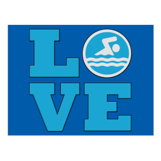 Swim Love For Competitive Swimmers or Coaches Postcard