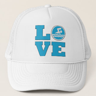 Swim Love For Competitive Swimmers or Coaches Trucker Hat