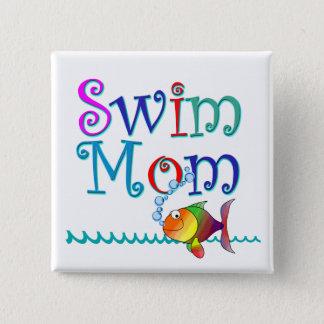 Swim Mom 15 Cm Square Badge