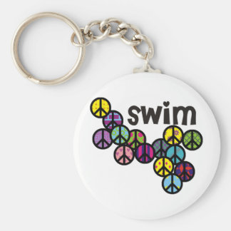 Swim Peace Signs Filled Key Ring