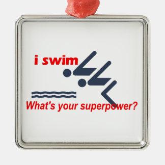 Swim super power christmas ornament
