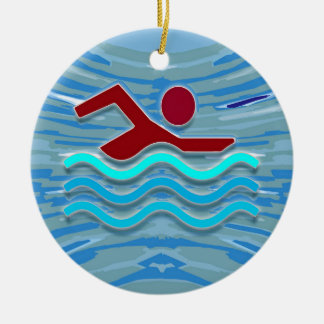 SWIM Swimmer Love Heart Pink Red Pool  FUN Christmas Ornament