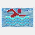 SWIM Swimmer Love Heart Pink Red Pool NVN695 FUN Rectangular Stickers