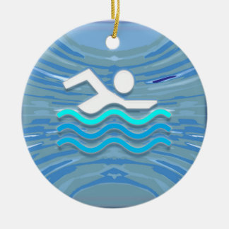 SWIM Swimmer Success Dive Plunge Success NVN238 Round Ceramic Decoration