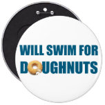 Swim team gift, funny, swimming doughnuts 6 cm round badge