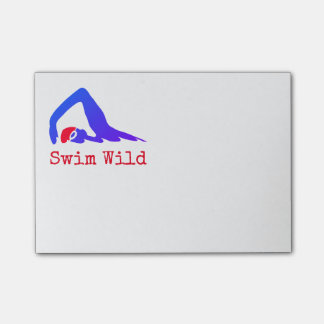 Swim Wild with text you can personalize Post-it Notes