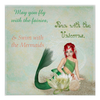 Swim with the Mermaid Pretty Poster
