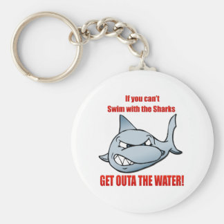 Swim with the Sharks Basic Round Button Key Ring