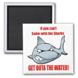Swim with the Sharks Square Magnet