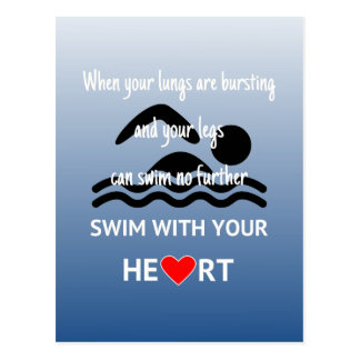 Swim with your heart inspirational postcard