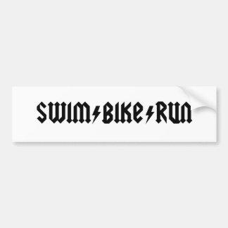 swimbikerun acdc letters bumper sticker