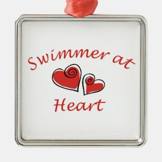 Swimmer at Heart Silver-Colored Square Decoration