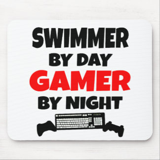 Swimmer by Day Gamer by Night Mouse Mat