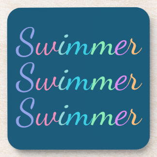 """""""Swimmer"""" in Colorful Lettering on Ocean Blue Coaster"""