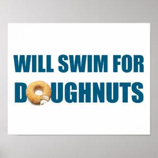 Swimmer Poster, swim team, doughnuts Poster