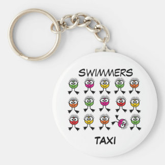 Swimmers TAXI - Bright Swim Characters Keyring Basic Round Button Key Ring