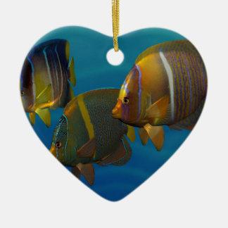 Swimming Angelfish Ceramic Heart Decoration
