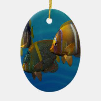 Swimming Angelfish Ceramic Oval Decoration