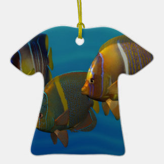 Swimming Angelfish Double-Sided T-Shirt Ceramic Christmas Ornament