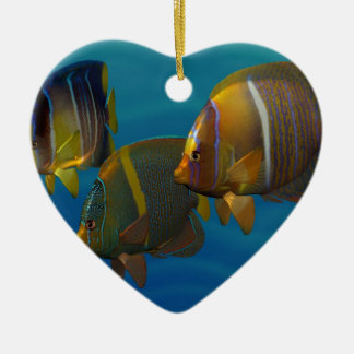 Swimming Angelfish Double-Sided Heart Ceramic Christmas Ornament