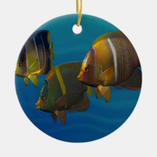 Swimming Angelfish Round Ceramic Decoration