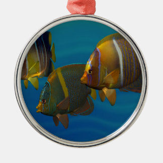 Swimming Angelfish Silver-Colored Round Decoration