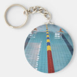 swimming basic round button key ring