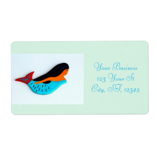 swimming blue mermaid shipping labels