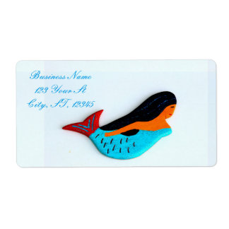 swimming blue mermaids shipping label