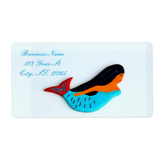 swimming blue mermaids shipping label