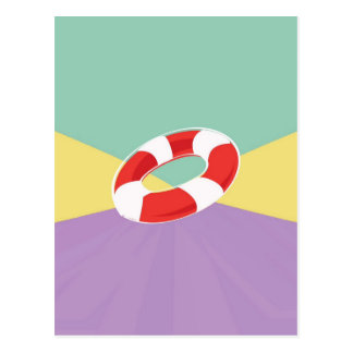 Swimming Buoys On Tri Color Background Postcards